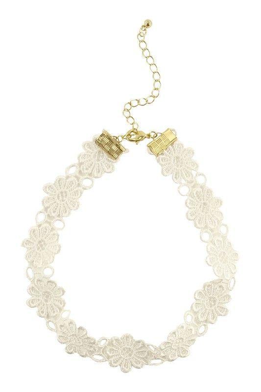 Women Fashion Jewelry White Boho Fashion Casual Style Choker Necklace Fabric