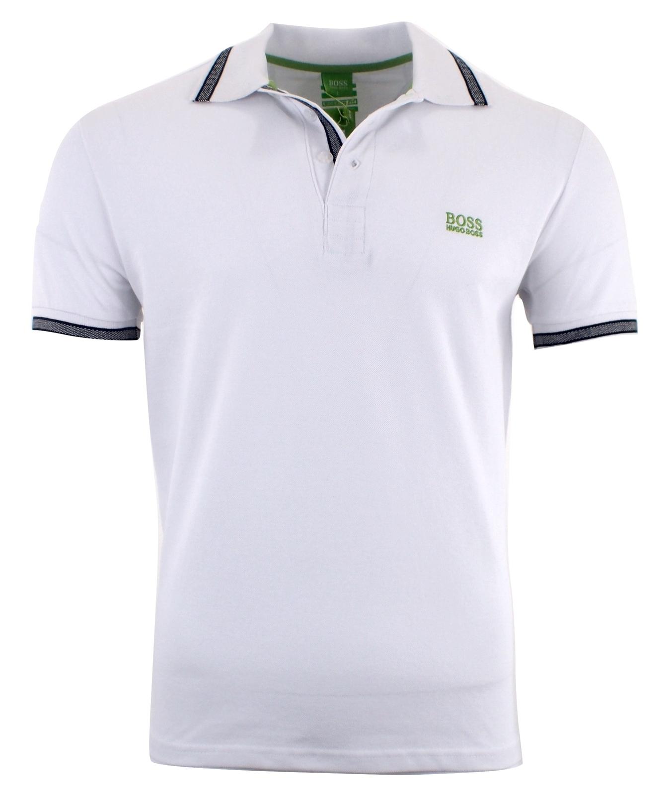 Hugo Boss Men's Short Sleeve Modern Fit 100% Cotton Polo Shirt WHITE S M L XL XX for sale  USA