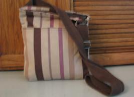 Thirty One 31 PURSE Shades of Brown Cross Body Handbag Shoulder Bag Stripes - $19.79