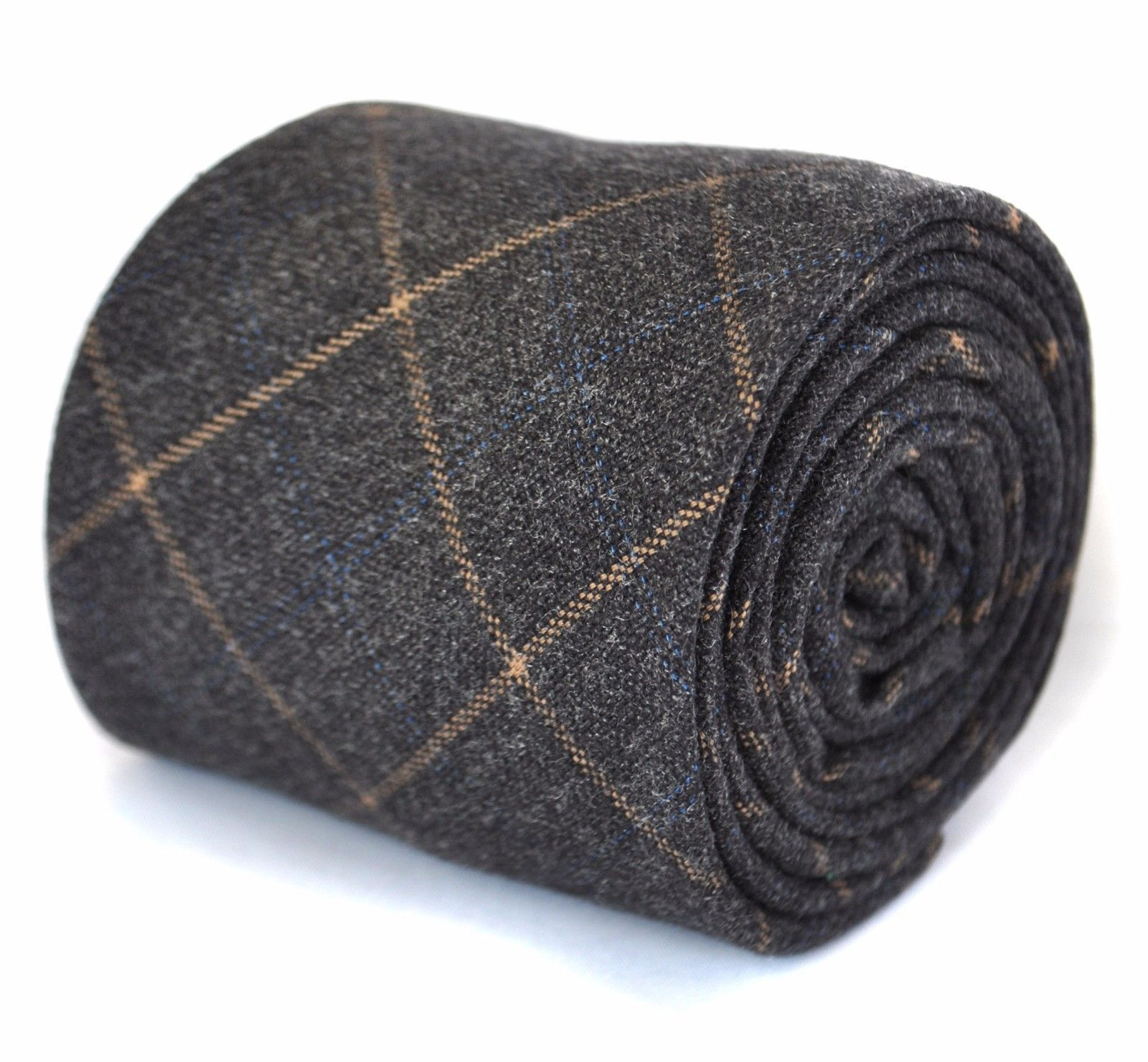 Frederick Thomas mens wool tweed tie in grey with orange check FT1942