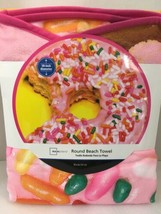 Pink Donut Doughnut Round Beach Pool Towel Blanket BIG 58 inches - $27.22