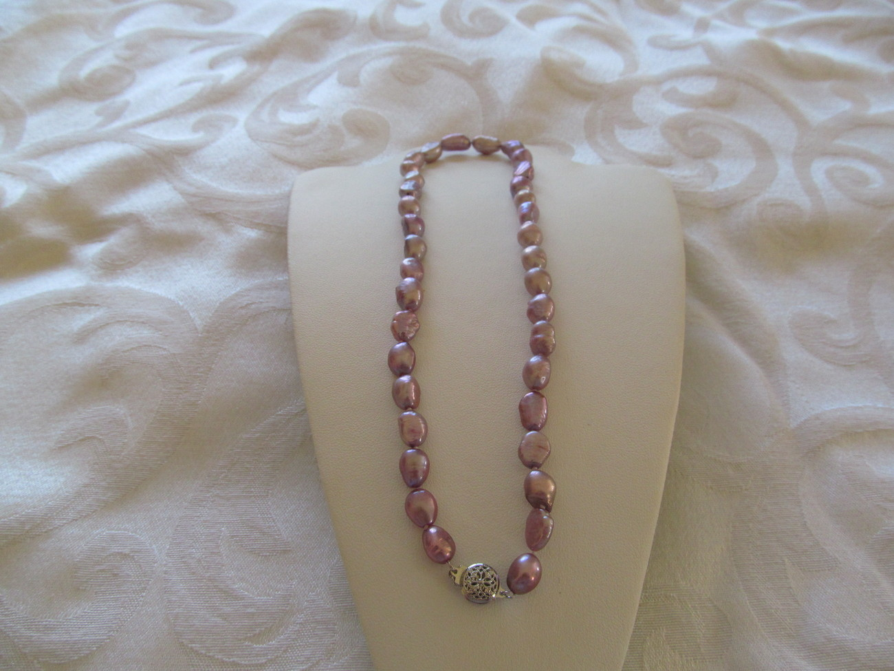 CULTURED RING BAROQUE PEARL LAVENDER NECKACES 17 inch