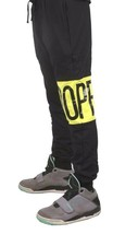 Dope Couture Color Blocked Black Neon Yellow Sweatpants Jogging Pants NWT image 2