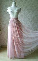 A-line Long Tulle Skirt Pink Long Tulle Skirt Wedding Tulle Skirt image 3