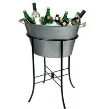 GALVANIZED STEEL PARTY TUB W STAND BEVERAGE COOLER ICE BUCKET WINE BEER ... - $125.99