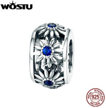 WOSTU 925 Sterling Silver Daisy Flower Charms Circle Beads Fit Original ... - $23.25