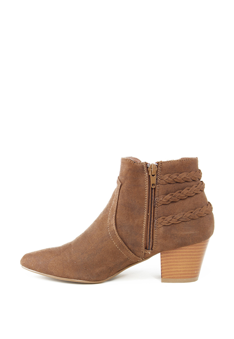 London Rag Women's Cognac Colour Pointed Toe Zipper Bootie