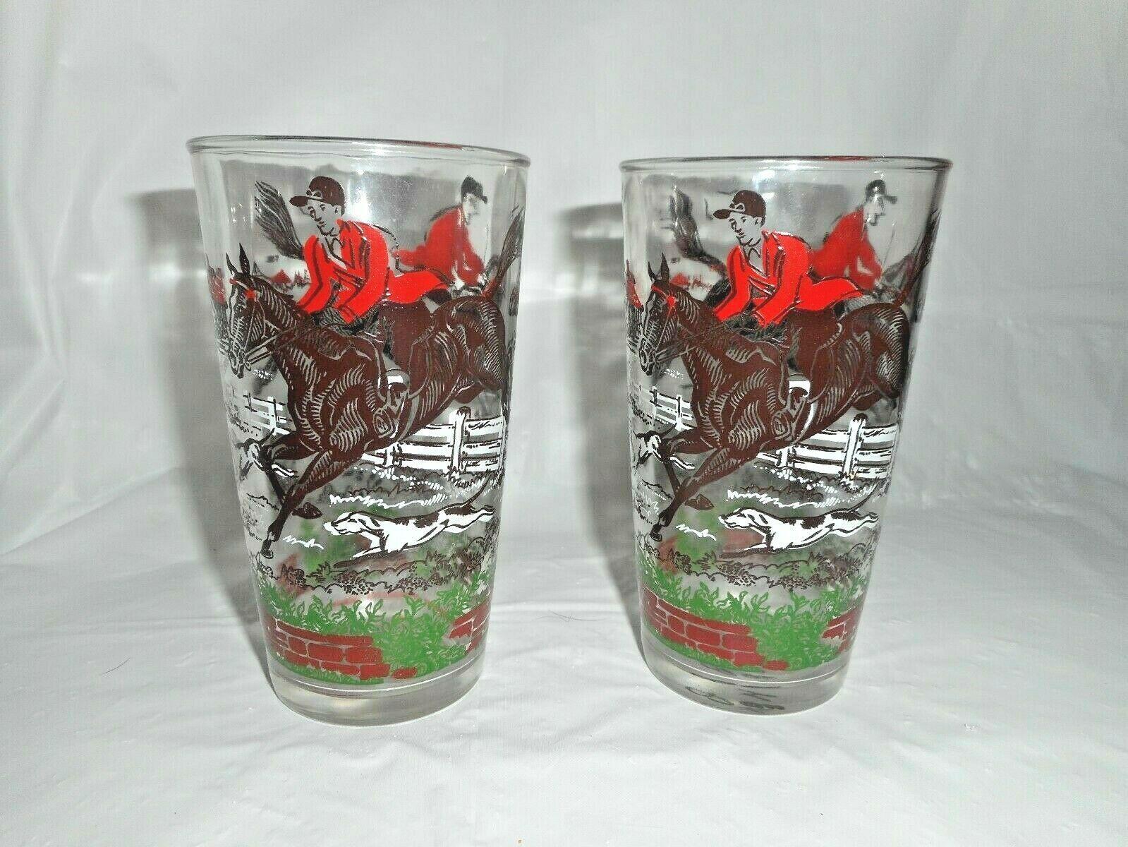 Hazel Atlas Old English Hunt Horses Equestrian Fence Hound Tall Drinking Glasses - $19.79