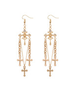 Cross Tassel Earrings Fashion Jewelry Vintage Elegant Gold Silver Color ... - $12.90