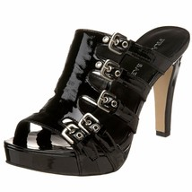 Franco Sarto Asset Patent Leather Strappy Slide Buckle Heels Sandals Shoes 6.5 - $69.00