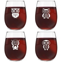 Cute Owl Wine Glass Set of 4 | Stemless Wine Glasses with 4 Unique Lovea... - $30.52