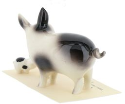 Hagen Renaker Miniature Pig Black and White Papa and Piglets - Set of 3 image 6