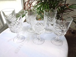 Set of 6 Cris d'Arques/Durand Diamond Pattern Clear Crystal Wine Glasses - $26.73