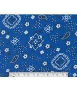 Blue Paisley Bandana Fabric, cotton quilting qu... - $7.75