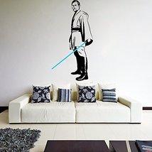 (33'' x 63'') Star Wars Vinyl Wall Decal / Obi Wan Kenobi with Blue Lightsaber D - $57.27
