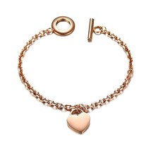 Engraved Personalized Women Charm Bracelet 585 Rose Gold Heart Pattern B... - $13.12