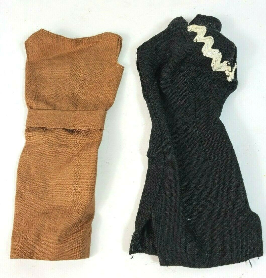 Primary image for Vintage 1950's 1960's Barbie Doll Lot of Two Classic Dresses Black & Brown