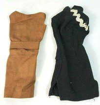 Vintage 1950's 1960's Barbie Doll Lot of Two Classic Dresses Black & Brown - $24.66