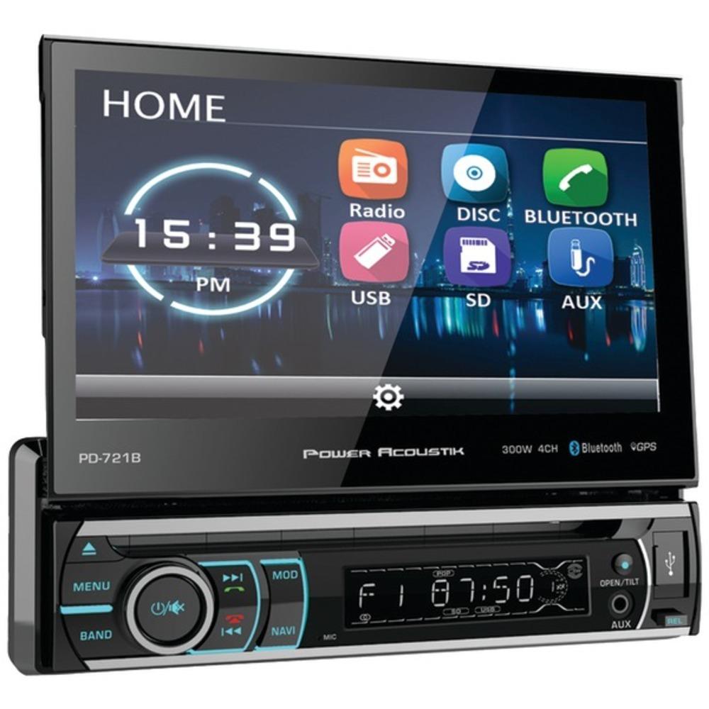 Power Acoustik PD-721B 7 Incite Single-DIN In-Dash Motorized LCD Touchscreen DVD