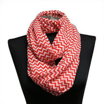 5pk Red and White Chiffon Scarf Infinity Wraps Accesories BULK LOT - $7.69