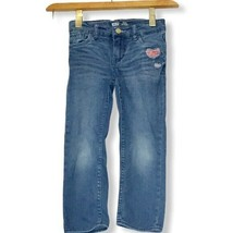 Levi's Girls Slim Straight Adjustable S 4 Jeans Embroidered Heart Stretch Cute - $14.84