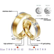 Vnox 1 Pair Wedding Ring Set for Couple Gold Color Stainless Steel CZ Fe... - $53.95