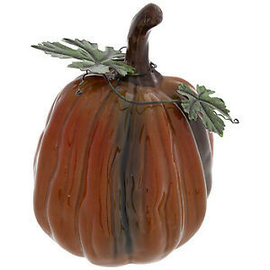 "Primary image for Ceramic Pumpkins Choose Either Orange 6 3/4"" X 5"" X 7 1/2"" Or Green 6"" X 5 3/4"""