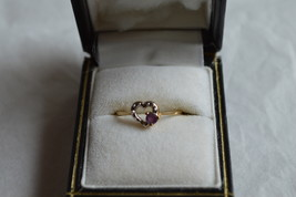 10K Solid Yellow Gold Dainty Heart Ring w/ Small Amethyst--Size 6--1.0 Gram - $79.99