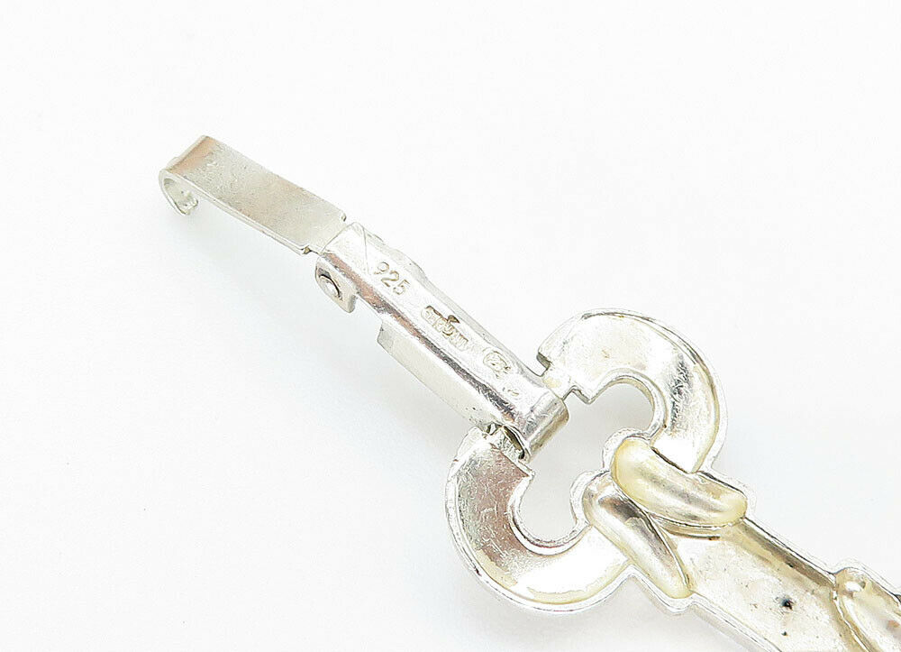 GERMANY 925 Silver - Vintage Etched Detail Open Link Chain Bracelet - B5931