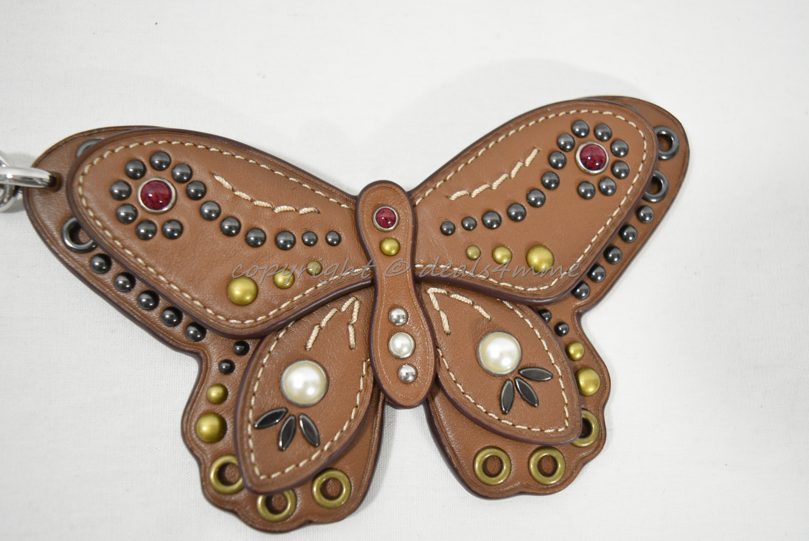 Coach F58996 /F58997 Studded Leather Butterfly Keyring/Key-Clip/ Bag Charm Brown image 14