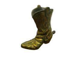 "Vintage 9"" Solid Brass Cowboy Boot w/ Spur Planter Vase Artbrass Giftmakers image 2"