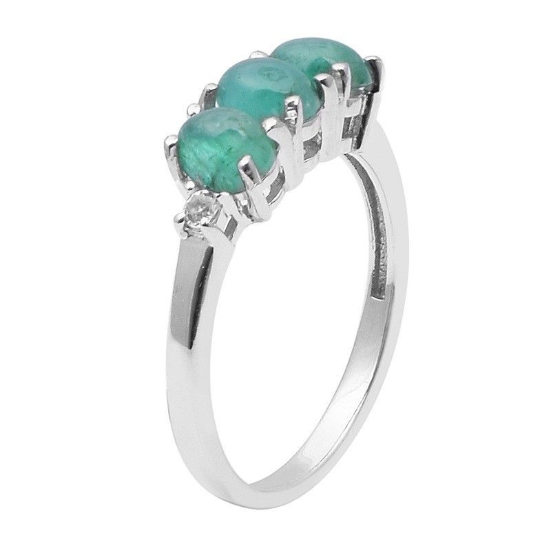 Emerald & White Topaz 925 Sterling Silver Ring Shine Jewelry Size-7.5 SHRI1483