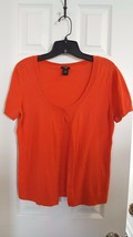 WOMEN'S ANN TAYLOR ORANGE SCOOP NECK CARDIGAN SIZE PETITE MEDIUM MP CARE... - $9.85