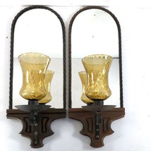 "Mirror Candle Sconce Pair 17"" Amber Glass Wood Iron Twist Vtg Mid Century - $89.09"