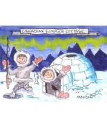 ACEO Original Painting Canadian Summer Cottage Christmas snow ice igloo ... - $16.00