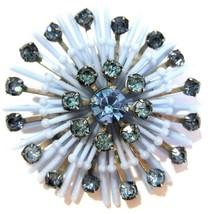 MID CENTURY BLUE SOFT PLASTIC AND RHINESTONE PIN VINTAGE  - $25.00