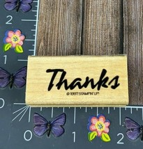 Stampin Up Thanks Rubber Stamp Bold and Basic Script 1997 Wood #J93 - $2.48
