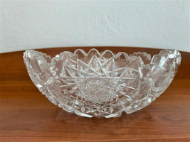 Antique Sawtoothed Etched Crystal Bowl from American Brilliant Cut Glass Period  - $55.00