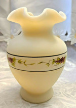 "Vintage Cameo Satin Fenton Glass Ruffled Edge 6 1/4"" Vase HP Grapes Signed - $11.20"
