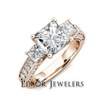 4.10 dwt Princess 3 Stone Moissanite & Round Diamond Engagement Ring 14k... - $3,322.44