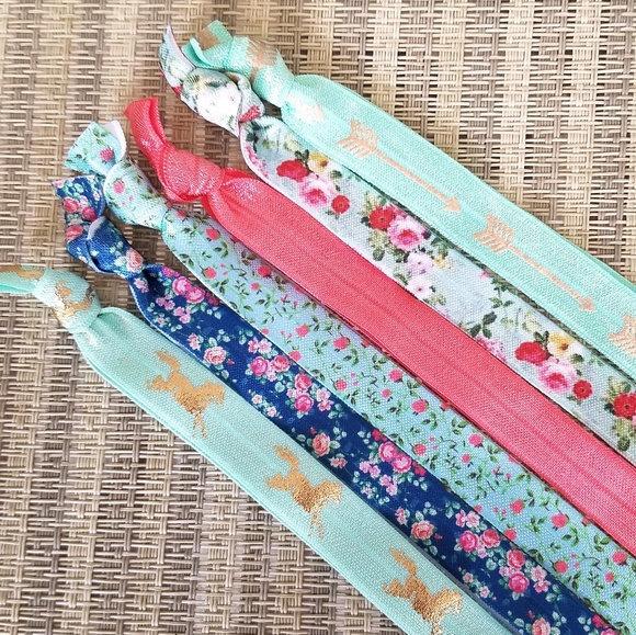 Set of 6 Elastic Headbands - Horse - Floral - Aqua - Gold - Tribal - Pink Floral