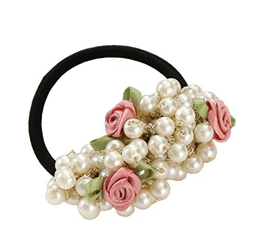 Primary image for Beaded Scrunchie Elastics Ponytail Holder Hair Rope/Ties Pinks Flowers #01