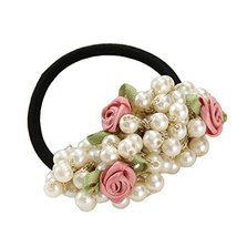 Beaded Scrunchie Elastics Ponytail Holder Hair Rope/Ties Pinks Flowers #01 - $15.59