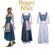 2017 Beauty and the Beast Movie Belle Cosplay Emma Watson Costume Maid Dress - £119.82 GBP