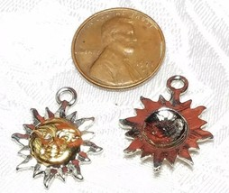 SILVER AND GOLD TONE SUN FINE PEWTER PENDANT CHARM - 3x22x18mm image 2