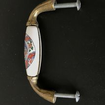 Vintage Ceramic Brass Drawer Pulls Handles Asian Japanese Art Set of 2 image 8