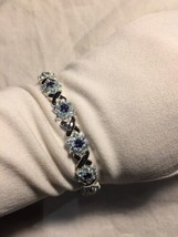 Vintage Genuine Deep Blue Topaz Iolite 925 Sterling Silver Deco Tennis B... - $222.75