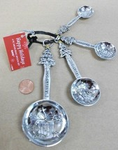 4pc CHRISTMAS TREE & PRESENTS Metal measuring spoons ZINCHostess /MOM gift - $19.27