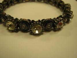 Vintage clear rhinestones on  bracelet stones shines with black trim - $9.89