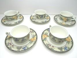 5 Mikasa Intaglio CAC29 Garden Harvest Fruit Flat Coffee Tea Cup Mugs & ... - $26.70